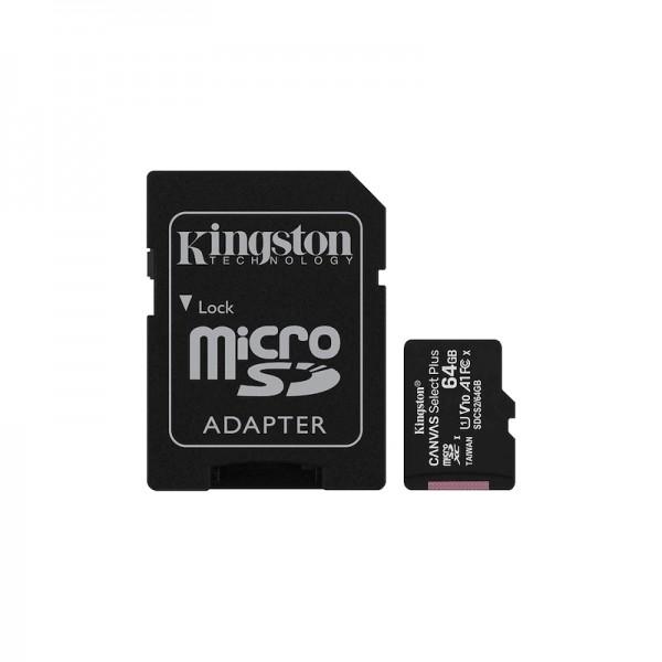 CARD DE MEMORIE microSD 64GB KINGSTON CANVAS SELECT PLUS / cu adaptor SD